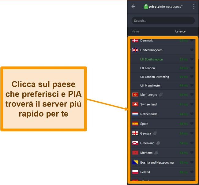 Screenshot dell'elenco dei server di PIA