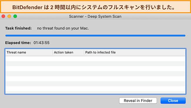 Macでディープシステムスキャンを実行するBitdefenderのスクリーンショット