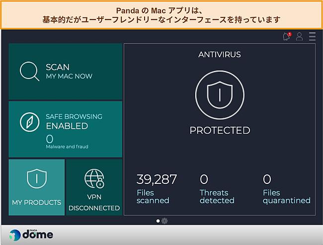 パンダのMacアプリダッシュボードのスクリーンショット