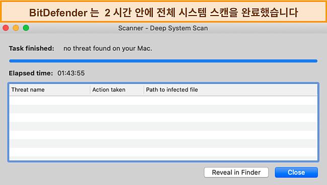 Mac에서 심층 시스템 검사를 수행하는 Bitdefender 스크린 샷