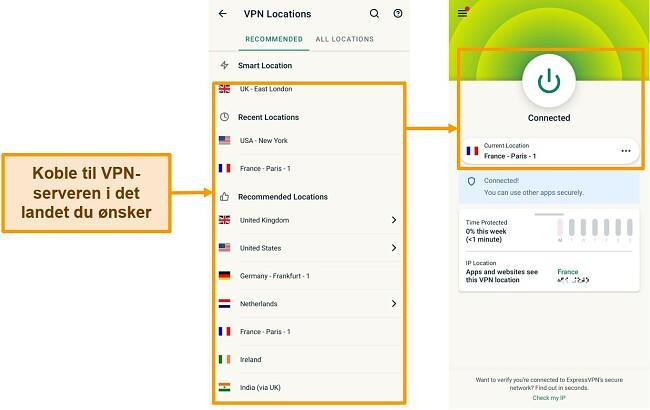 Skjermbilder av tilkobling til en VPN-server