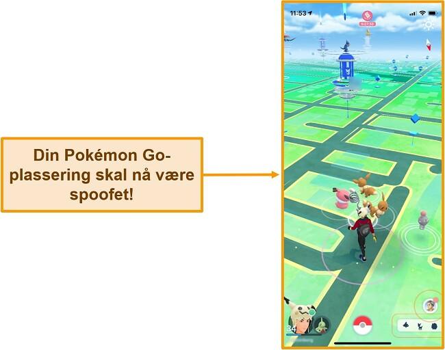 Skjermbilde av Pokemon Go på iOS