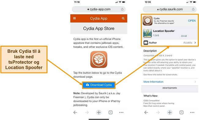 Skjermbilde av nedlasting av Cydia og Location Spoofer for iPhone