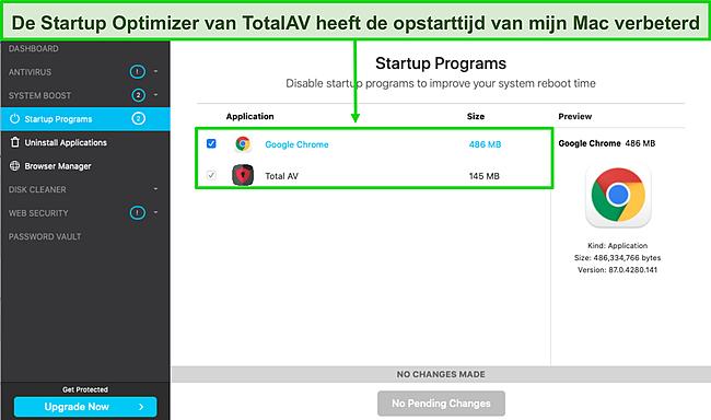 Screenshot van TotalAV startup optimizer draait op Mac