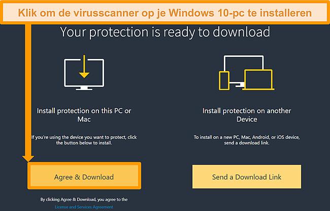 Screenshot van downloadlink voor Norton 360