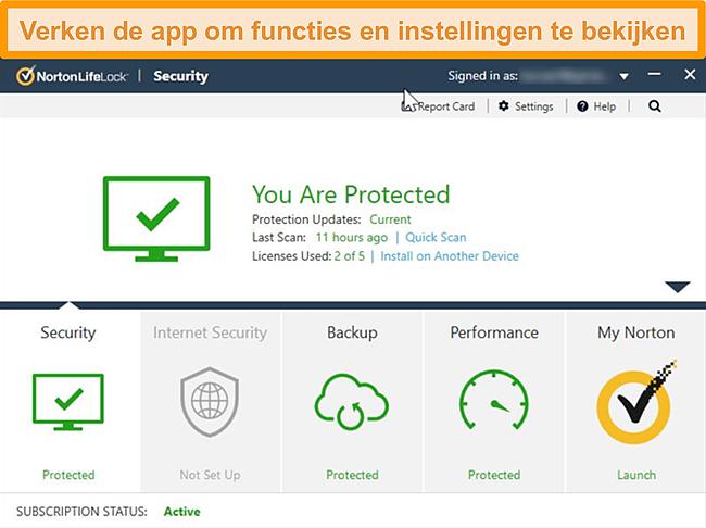 Schermafbeelding van het Norton 360-app-dashboard voor Windows