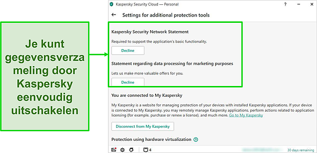 Screenshot van Kaspersky's instellingen voor gegevensverzameling