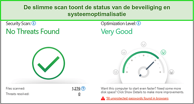 Schermafbeelding van de snelle scan van Trend Micro met informatie over beveiliging en systeemoptimalisatie