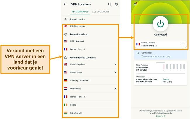 Schermafbeeldingen van verbinding maken met een VPN-server