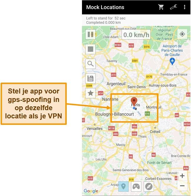 Screenshot van het wijzigen van de locatie in een GPS-spoofing-app