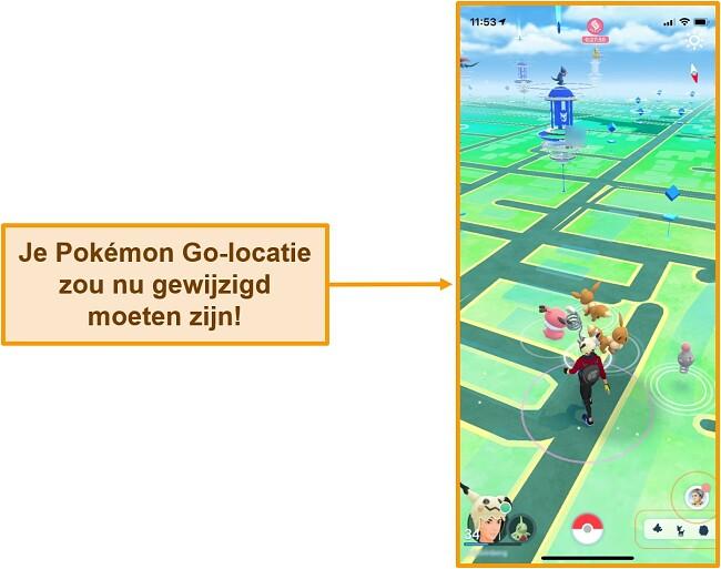 Screenshot van Pokemon Go op iOS