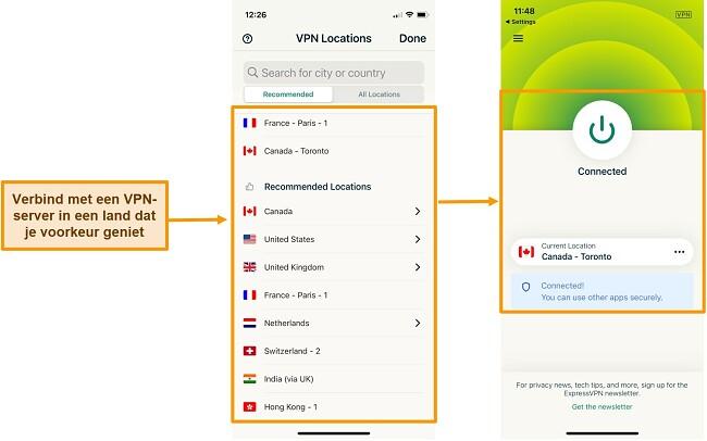 Screenshot van verbinding met Canada-server op ExpressVPN iOS-app