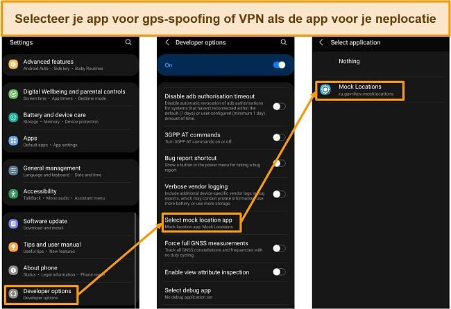 Schermafbeeldingen van het selecteren van een neplocatie-app in Ontwikkelaarsopties