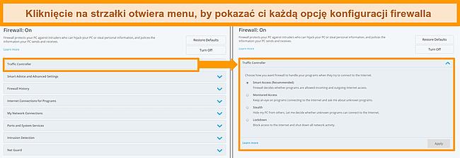Zrzut ekranu z opcjami zapory sieciowej McAfee.