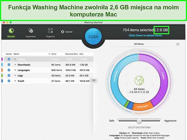 Zrzut ekranu przedstawiający funkcję pralki Intego optymalizującą komputer Mac