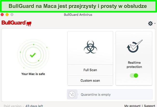 Zrzut ekranu interfejsu aplikacji BullGuard na Macu.