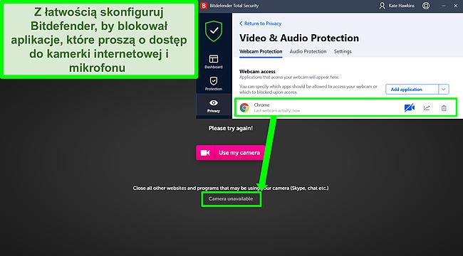 Zrzut ekranu przedstawiający Bitdefender blokujący dostęp kamery internetowej do strony internetowej.