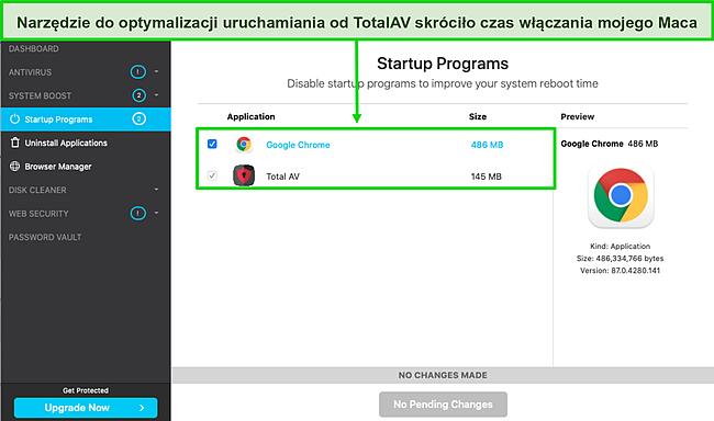 Zrzut ekranu z optymalizatorem uruchamiania TotalAV działającym na komputerze Mac