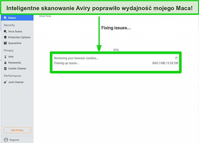 Zrzut ekranu inteligentnego skanowania firmy Avira usuwającego pliki cookie przeglądarki na komputerze Mac