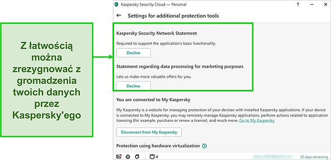 Zrzut ekranu ustawień gromadzenia danych Kaspersky