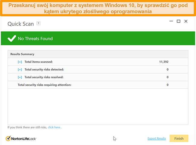 Zrzut ekranu przedstawiający funkcję Szybkie skanowanie programu Norton 360 po uruchomieniu skanowania