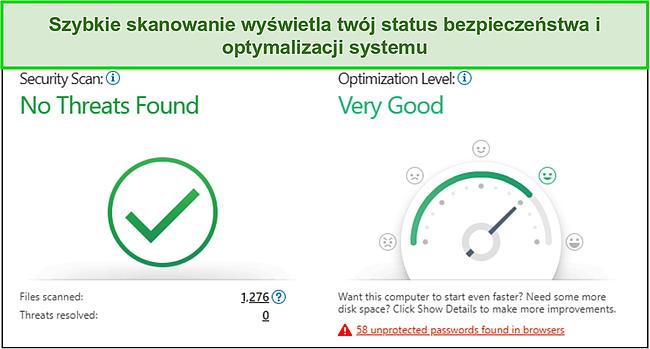 Zrzut ekranu szybkiego skanowania firmy Trend Micro pokazujący informacje dotyczące bezpieczeństwa i optymalizacji systemu