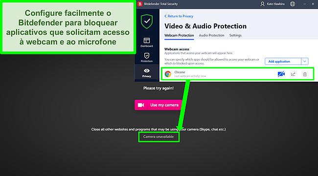 Captura de tela do Bitdefender bloqueando o acesso da webcam a um site.