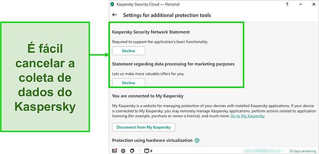 Captura de tela das configurações de coleta de dados do Kaspersky
