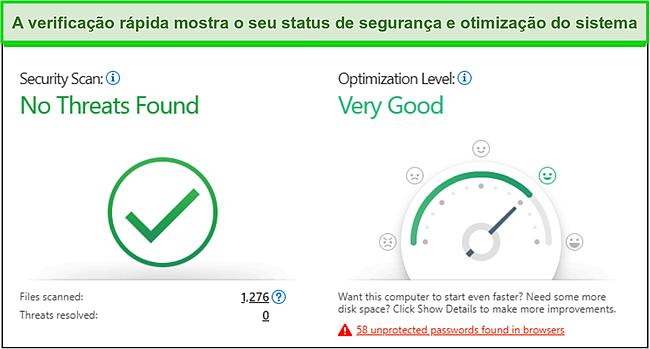 Captura de tela da verificação rápida da Trend Micro mostrando informações de segurança e otimização do sistema