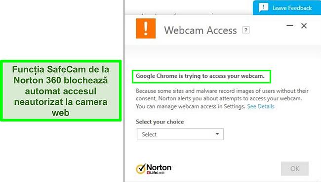 Captură de ecran a Norton care blochează încercarea Google Chrome de a accesa camera web.