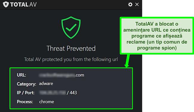 Captură de ecran care arată TotalAV blocând un adware URL care găzduiește adware.
