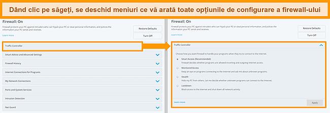Captură de ecran a opțiunilor firewall-ului McAfee.