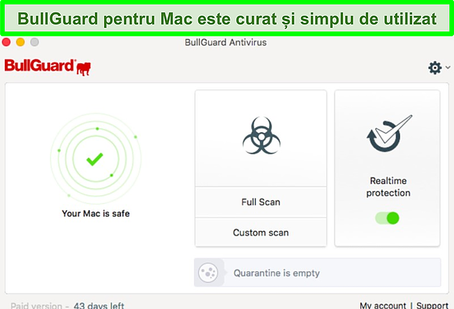 Captură de ecran a interfeței aplicației BullGuard pe Mac.