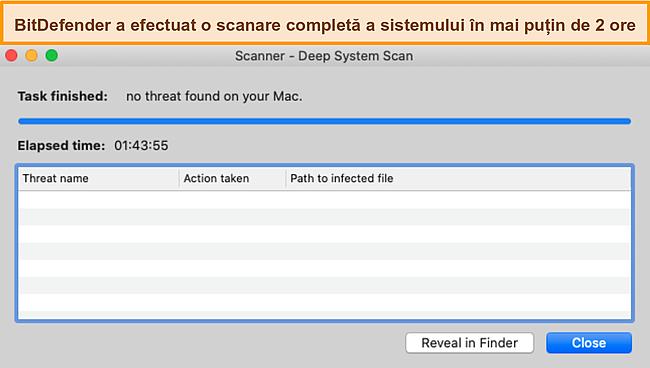 Captură de ecran a Bitdefender care efectuează o scanare profundă a sistemului pe Mac