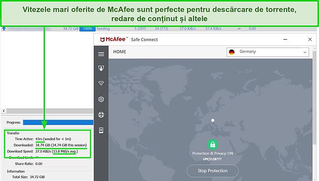 Captură de ecran a McAfee Safe Connect VPN conectându-se la un server