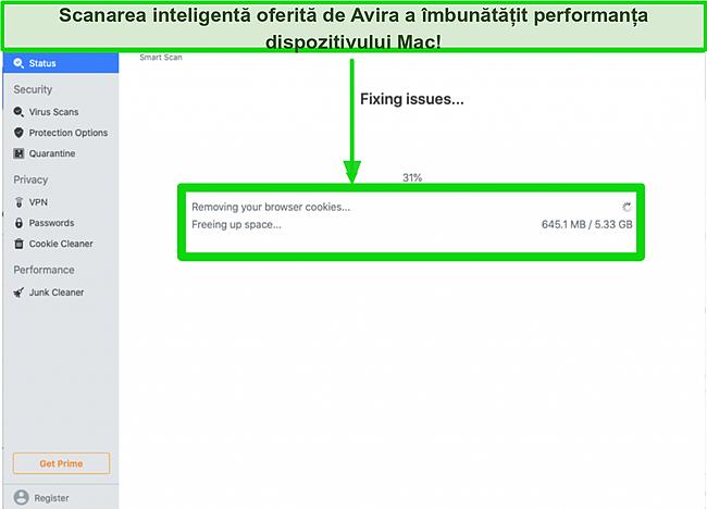 Captură de ecran a scanării inteligente Avira care elimină cookie-urile de navigare pe Mac