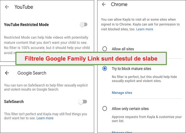 Captură de ecran a filtrelor destul de slabe ale Google Family Link