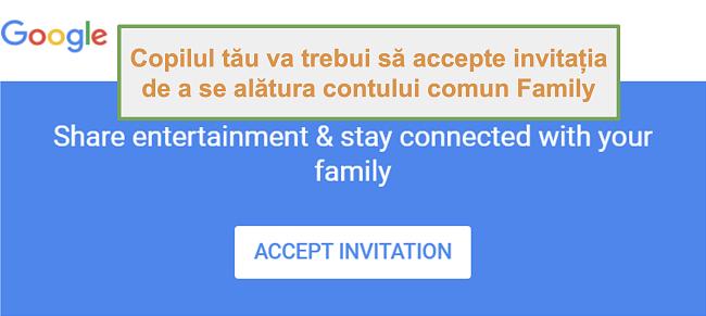 Captură de ecran a invitației Google Family Link la aderare