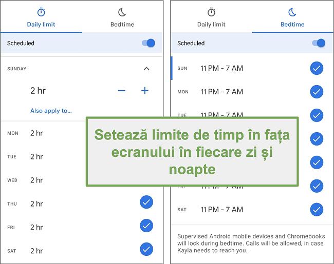 Captură de ecran a setărilor de timp ale ecranului Google Family Link pentru fiecare zi și noapte