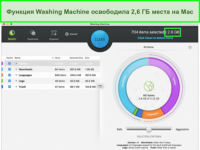 Скриншот функции стиральной машины Intego, оптимизирующей Mac
