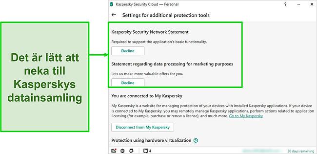 Skärmdump av Kasperskys datainsamlingsinställningar