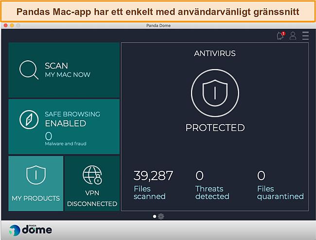 Skärmdump av Pandas instrumentpanel för Mac-appen