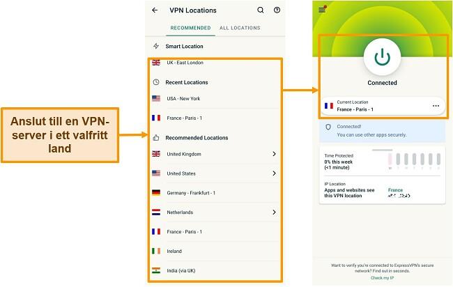 Skärmdumpar för anslutning till en VPN-server