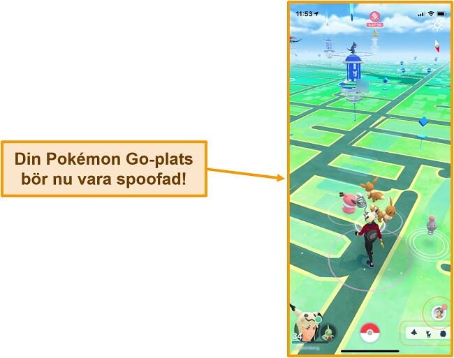Skärmdump av Pokemon Go på iOS