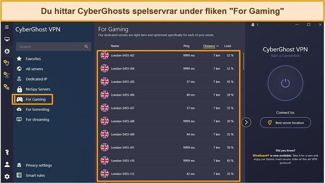 Skärmdump av CyberGhosts spelservrar