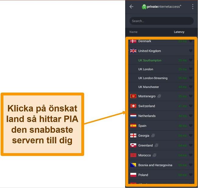 Skärmdump av PIA: s serverlista