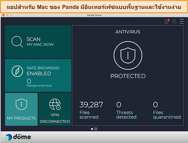 สกรีนช็อตของแดชบอร์ดแอพ Mac ของ Panda