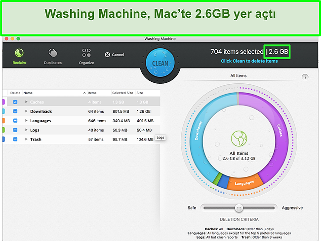 Intego'nun Mac'i optimize eden Çamaşır Makinesi özelliğinin ekran görüntüsü