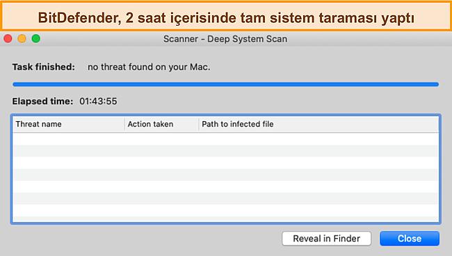 Mac'te derin bir sistem taraması gerçekleştiren Bitdefender'ın ekran görüntüsü