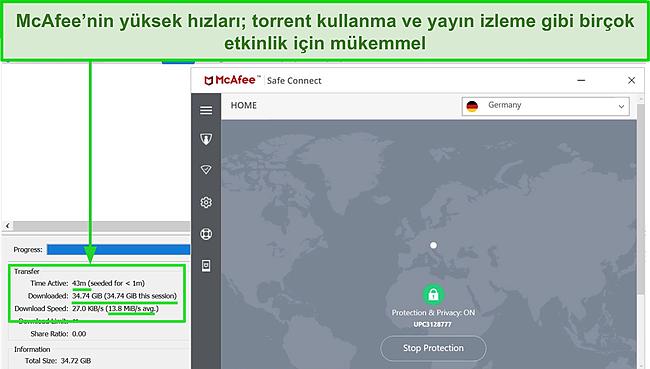 Sunucuya bağlanan McAfee Safe Connect VPN ekran görüntüsü